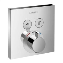Chrome Thermostatic Trim for 2 Functions, Square