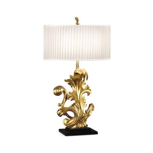 Gold-Leaf Gilded Carved Table Lamp