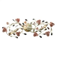 Heritage 3-Light Vanity Lamp in Cream with Porcelain Roses and Crystal