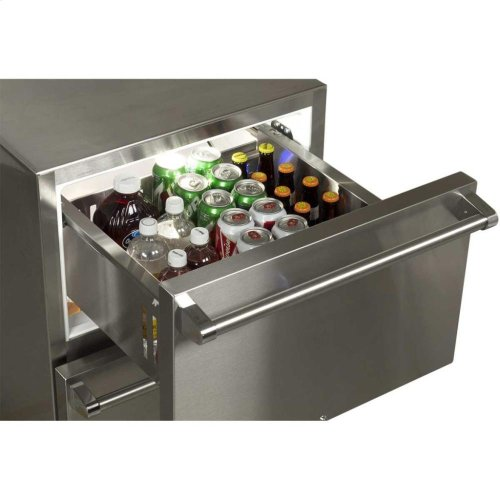 """24"""" Outdoor Refrigerated Drawers with Lock - Marvel Refrigeration - Solid Stainless With Lock"""