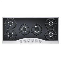 "Stainless Steel/Black 45"" Gas Cooktop - DGCU (45"" wide, six burners)"