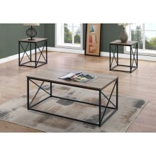 TABLE SET - 3PCS SET / DARK TAUPE / BLACK METAL