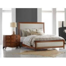 Milan Bed, Fruitwood With Inlay. Neutral Linen Fabric.