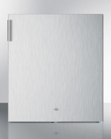 Compact all-refrigerator in stainless steel with automatic defrost and front lock; replaces FFAR22LCSS