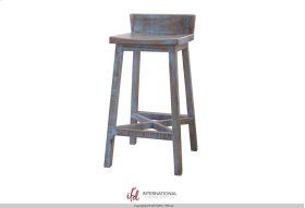"30"" Stool - with wooden seat & base- Blue finish"