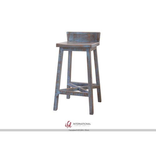 """30"""" Stool - with wooden seat & base- Blue finish"""
