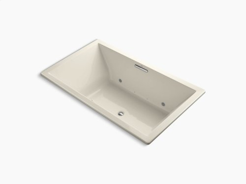 """Almond 72"""" X 42"""" Drop-in Vibracoustic + Bubblemassage Air Bath With Bask Heated Surface and Chromatherapy and Center Drain"""