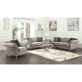 Frostine Grey Three-piece Living Room Set