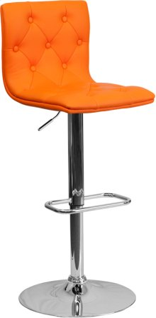 Contemporary Button Tufted Orange Vinyl Adjustable Height Barstool with Chrome Base