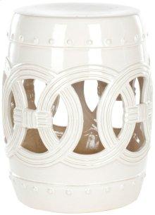 White Ceramic Double Coin Stool - White