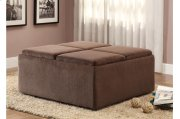 Cocktail Ottoman With Casters, Chocolate Textured Plush Microfiber Product Image