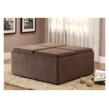 Cocktail Ottoman with Casters, Chocolate Textured Plush Microfiber