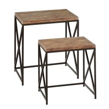 2 pc. set. Nested Table with Woven Pattern Top. (2 pc. set)