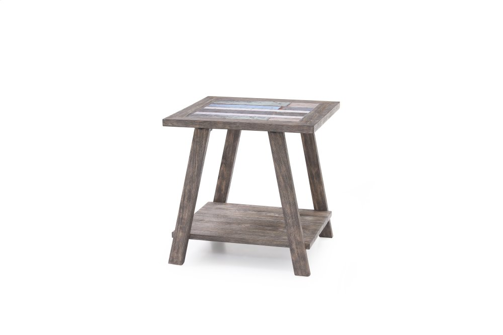 Emerald Home Laurel Lane Square End Table W/tile Top Gray T306 01