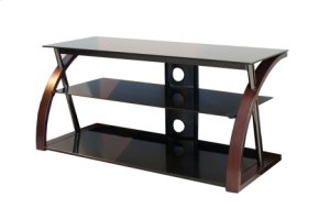 """48"""" Wide Stand With Bent Wood Walnut Legs - Accommodates Most 52"""" and Smaller Flat Panels - No Tools Required"""