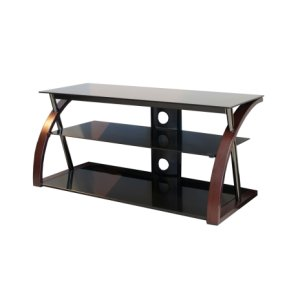 "Techcraft48"" Wide Stand With Bent Wood Walnut Legs - Accommodates Most 52"" and Smaller Flat Panels - No Tools Required"