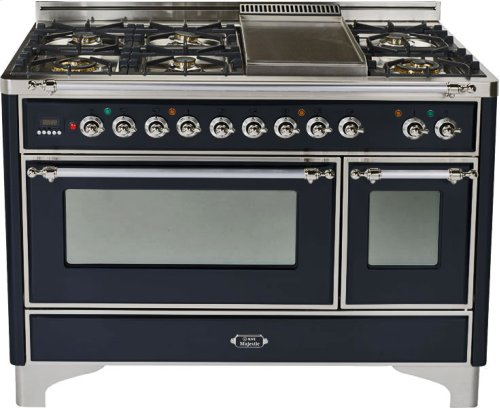 Gloss Black with Chrome trim - Majestic 48-inch Range with Griddle