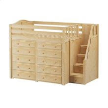 High Loft w/ Staircase & 2 x 5 Drawer Dressers : Full : Natural : Curved