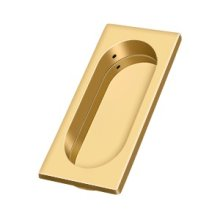 "Flush Pull, Large, 3-7/8"" x 1-5/8"" x 3/8"" - PVD Polished Brass"