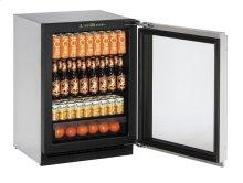 "24"" Glass Door Refrigerator Stainless Frame Right-Hand Hinge"