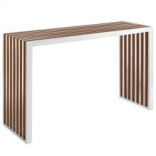 Gridiron Wood Inlay Console Table in Walnut
