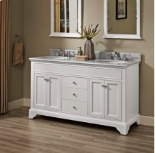 "Framingham 60"" Double Bowl Vanity - Polar White"