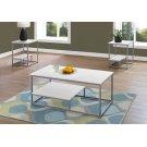 TABLE SET - 3PCS SET / WHITE / SILVER METAL Product Image