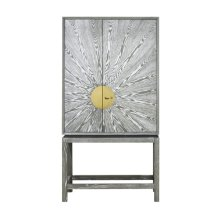 Grey Cerused Oak Bar Cabinet With Radial Pattern and Antique Brass Detailing