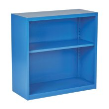 Metal Bookcase In Blue Finish, Ships Fully Assembled.