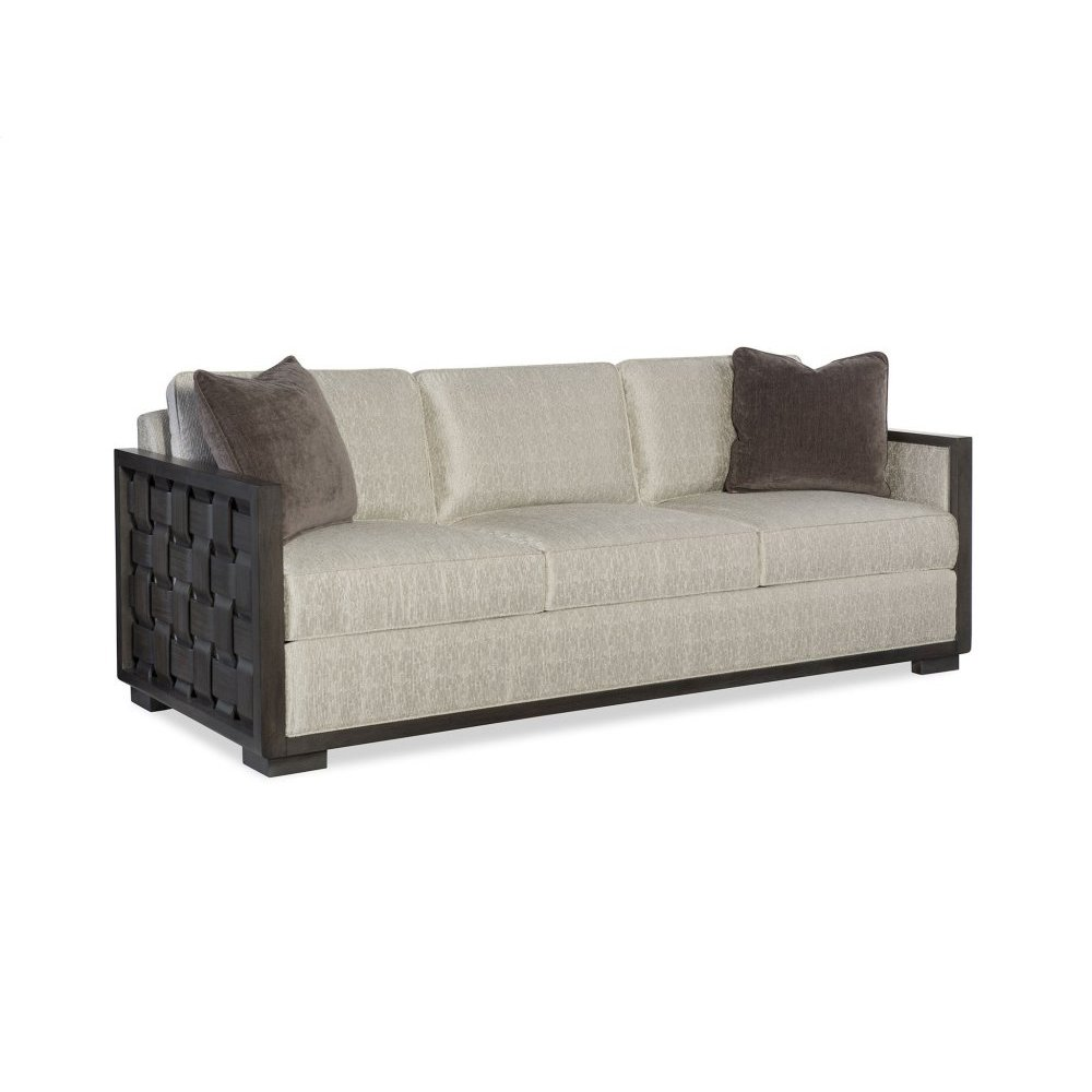 Riveria Leather Basket Weave Sofa
