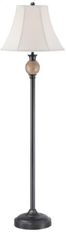 Floor Lamp - Dark Brown/off-white Fabric Shade, E27 Cfl 23w Product Image