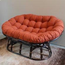 Bali Mamasan Rattan Double Papasan Chair with Twill Cushion - Walnut/Spice