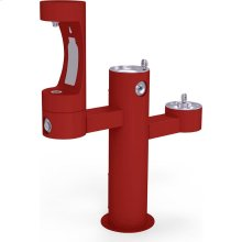 Elkay Outdoor EZH2O Bottle Filling Station Tri-Level Pedestal, Non-Filtered Non-Refrigerated Red
