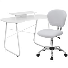 White Computer Desk with Monitor Platform and Mesh Chair