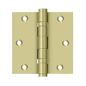 """3 1/2""""x 3 1/2"""" Square Hinge, Ball Bearings - Unlacquered Brass"""