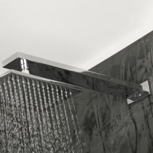 """Wall-mount rectangular shower arm with flange. D: 14 3/8"""", H: 1 1/8""""."""