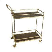 2-tier Metal/wood Bar Cart: Gold