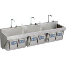 "Elkay Stainless Steel 90"" x 23"" x 26"", Wall Hung Triple Station Surgeon Scrub Sink Kit"