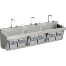 "Elkay Stainless Steel 90"" x 23"" x 26"", Wall Hung Triple Station Surgeon Scrub Sink Kit"