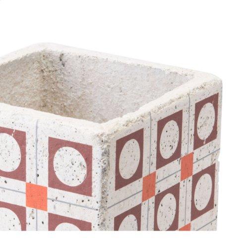 Cement Squares Planter Red And Orange