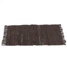 Brown & Black Leather Chindi 2'x3' Rug (Each One Will Vary) Product Image