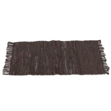 Brown & Black Leather Chindi 2'x3' Rug (Each One Will Vary)