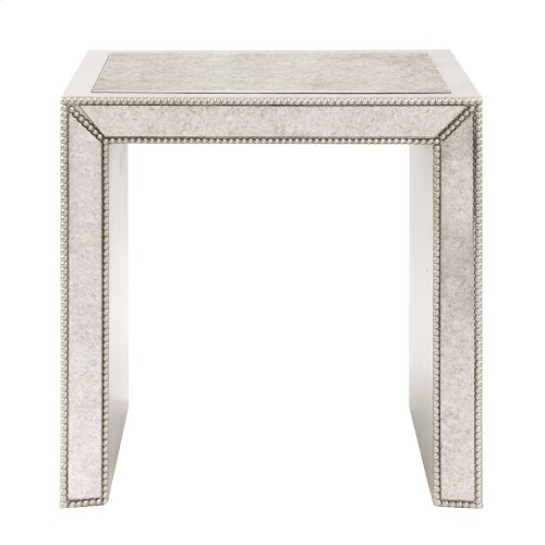 Antiqued Mirrored Side Table