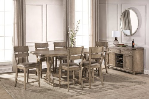 Leclair 7 Piece Counter Height Dining Set - Wire Brushed Vintage Gray