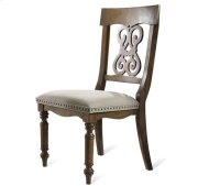 Belmeade Scroll Upholstered Side Chair Old World Oak finish Product Image