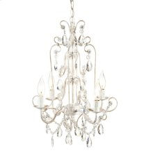 Antique White and Gold Four Arm Beaded Chandelier. 25W Max. Plug-in with Hard Wire Kit Included.