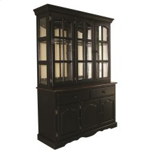 DLU-22-BH-BCH  Treasure Buffet and Lighted Hutch  Antique Black and Cherry