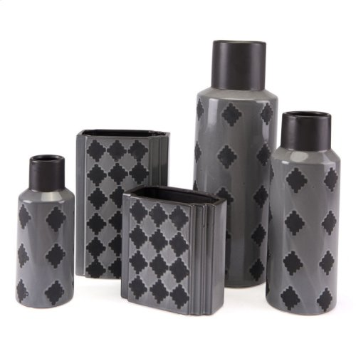 Arlequim Rectangular Vase Sm Gry & Blk