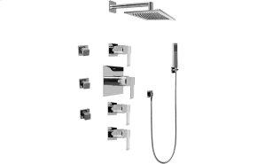Contemporary Square Thermostatic Set w/Body Sprays & Handshower (Rough & Trim)