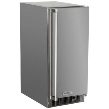 """Marvel 15"""" Outdoor Clear Ice Machine - Solid Stainless Steel Door, with Factory Installed Drain Pump - Left Hinge"""